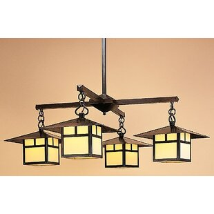 Arroyo Craftsman Monterey with Filigree 4-Light Shaded Chandelier