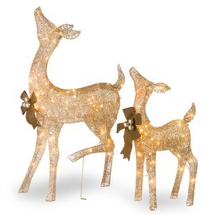 fawn and doe decoration figurine set - Christmas Deer Decorations Indoor