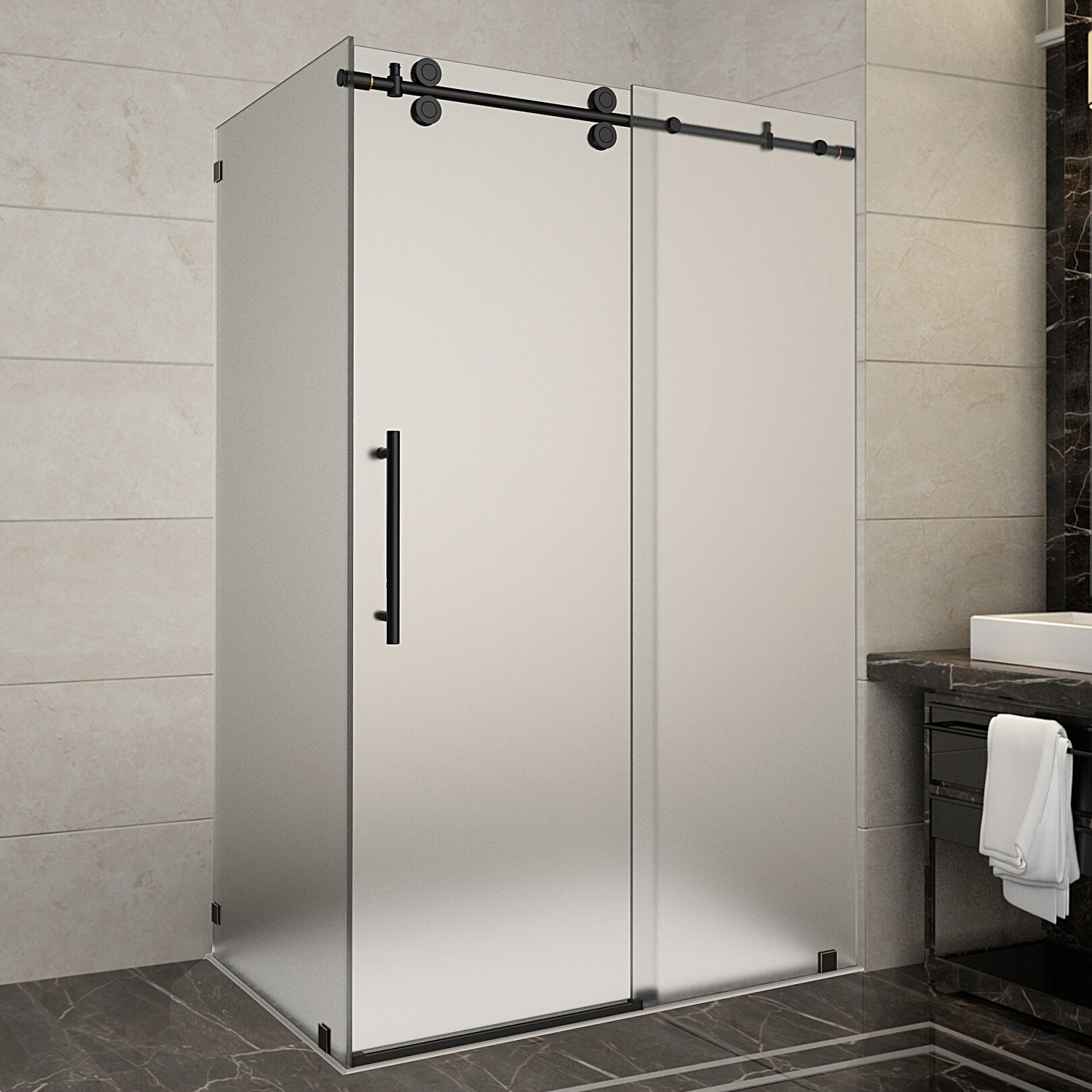 Langham 48 X 75 Rectangle Sliding Shower Enclosure