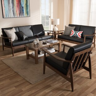 Leaman Mid-Century Modern 3 Piece Wood Frame Living Room Set by Millwood Pines