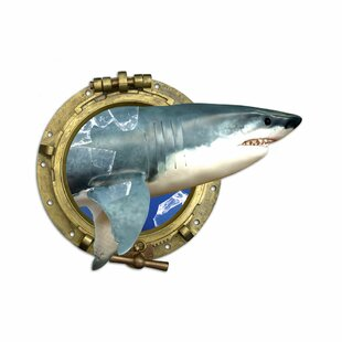 Shark, Porthole, Broken Glass Wall Sticker By Happy Larry