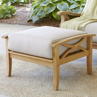 Brunswick Outdoor Teak Ottoman with Cushion by Birch Lane? Heritage
