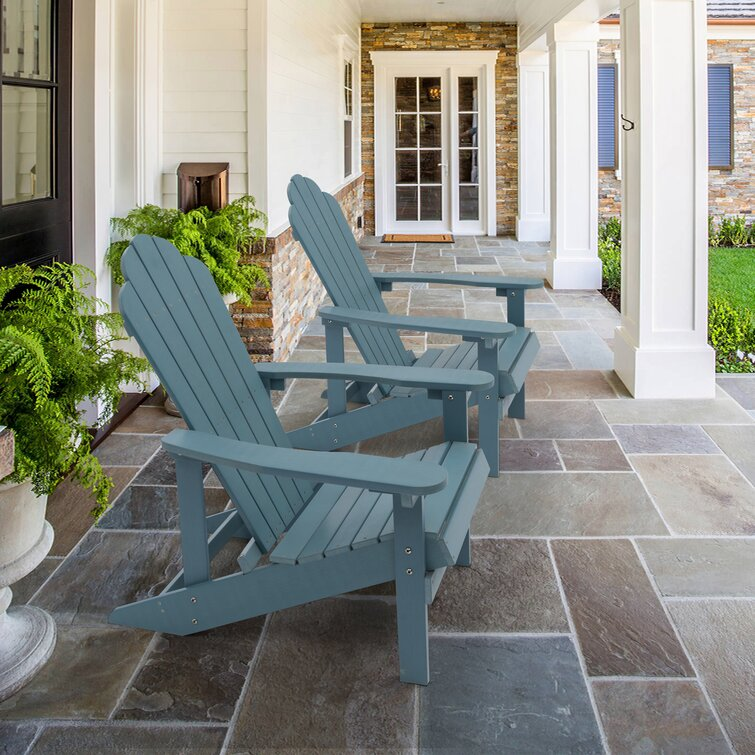 Nyles Set Of 2 Faux Wood Adirondack Chair Weather Resistant For Patio Garden, Backyard, Porches And Indoors
