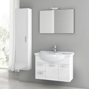 Cubical 34 Wall-Mounted Single Bathroom Vanity Set with Mirror