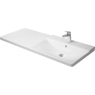 Best Price P3 Comforts Ceramic Rectangular Vessel Bathroom Sink with Overflow By Duravit