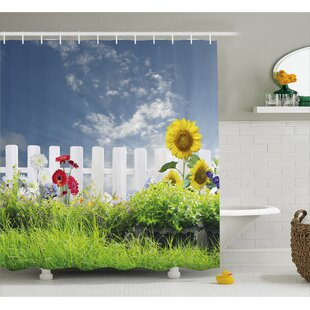 Bleeker Daisy Flowers in Yard Shower Curtain + Hooks