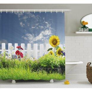 Bleeker Daisy Flowers in Yard Shower Curtain + Hooks