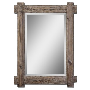 Wooden Traditional Beveled Accent Mirror