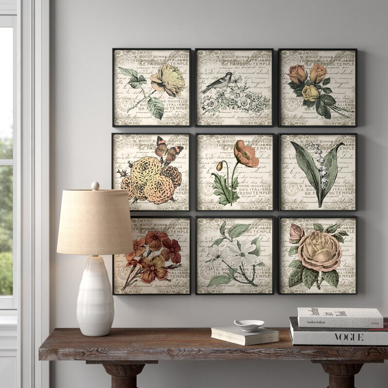 'French Botanical Illustrations' - 9 Piece Wrapped Canvas Graphic Art Print Set