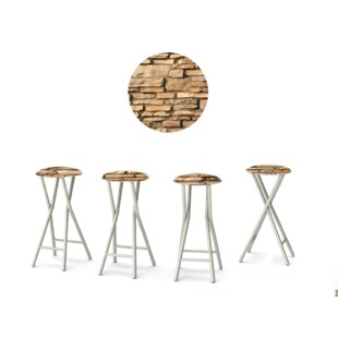 Rock Wall 30'' Patio Bar Stool with Cushion (Set of 4)