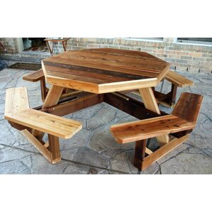 Delightful Western Cedar Octagon Picnic Table Part 32