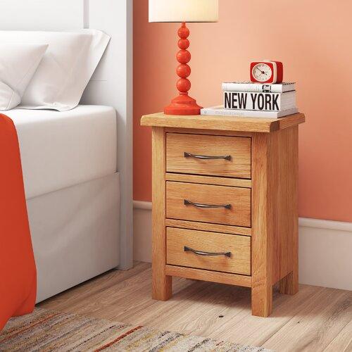 Nachttisch mit 3 Schubladen dCor design   Schlafzimmer > Nachttische   Holz   dCor design