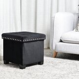 Elderton 14.96 Velvet Tufted Square Cube with Storage Ottoman by Mercer41