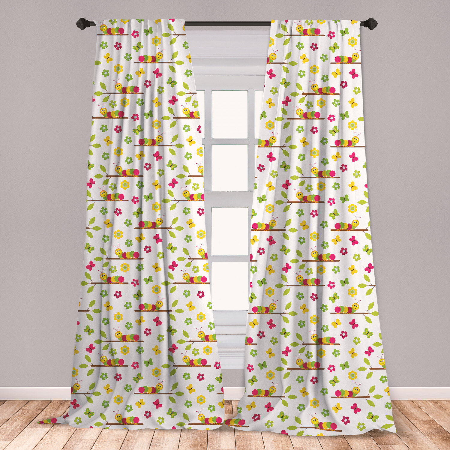 East Urban Home Ambesonne Caterpillar 2 Panel Curtain Set Colourful Preschool Concept Of Cheerful Caterpillars On Tree Branches Pattern Lightweight Window Treatment Living Room Bedroom Decor 56 X 63 Multicolor Wayfair Ca