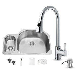 VIGO 32 inch Undermount 80/20 Double Bowl 18 Gauge Stainless Steel Kitchen Sink with Weston Chrome Faucet, Grid, Two Strai...
