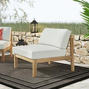 Edmeston Outdoor Teak Armless Chair With Cushions by Bayou Breeze Sale