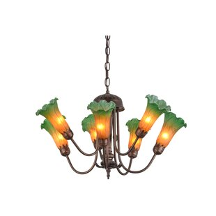 Meyda Tiffany Greenbriar Oak Pond Lily 7-Light Shaded Chandelier