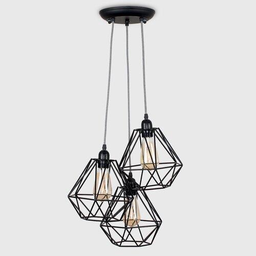 Glühlampen-Pendelleuchte 3-flammig Horatio | Lampen > Leuchtmittel > Mehr-Leuchtmittel | Schwarz | MiniSun