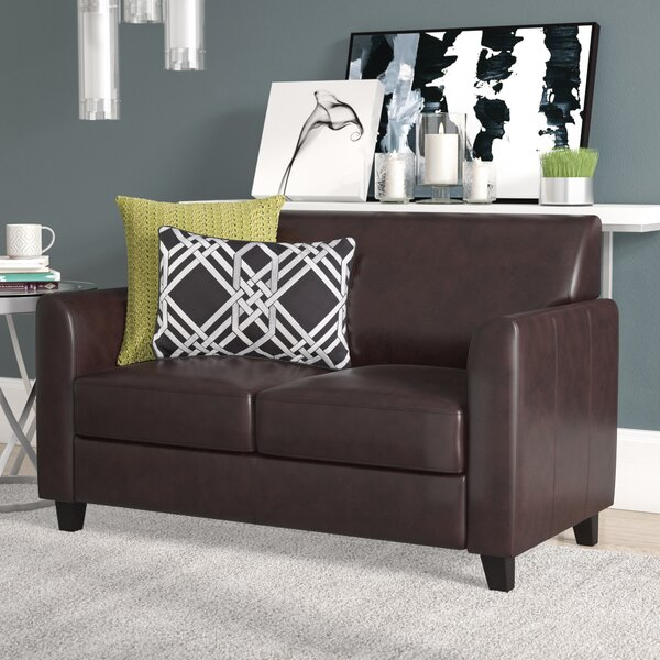 Admirable Caramel Leather Loveseat Wayfair Creativecarmelina Interior Chair Design Creativecarmelinacom