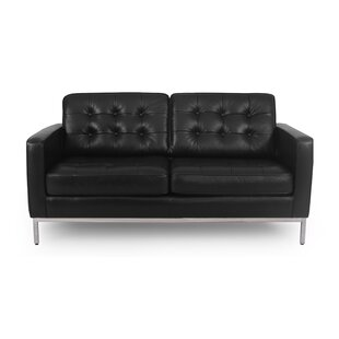 Corrigan Studio Agostini Mid-Century Leather Loveseat