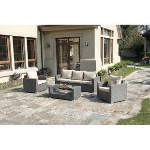 Poundex Lizkona Kemen 4 Piece Sofa Set with Cushions