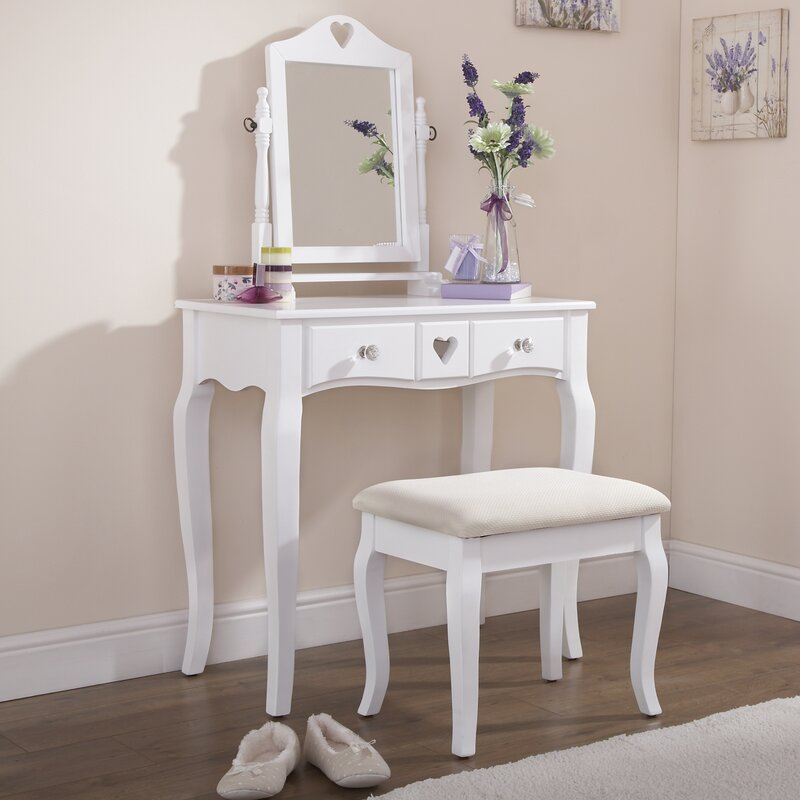 August Grove Veras Dressing Table Set with Mirror & Reviews ...