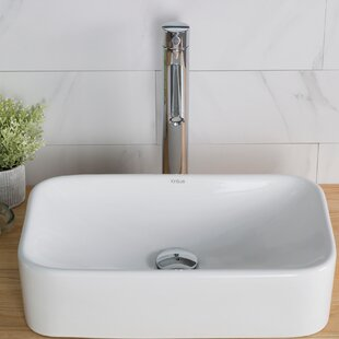 Price Check Ceramic Ceramic Rectangular Vessel Bathroom Sink with Faucet By Kraus