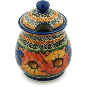 Polish Pottery Bright Beauty With Lid Kitchen Canister