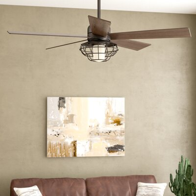 17 Stories 52 inch Charo Damp Location 5 Blade Ceiling Fan with Remote Light Kit Included