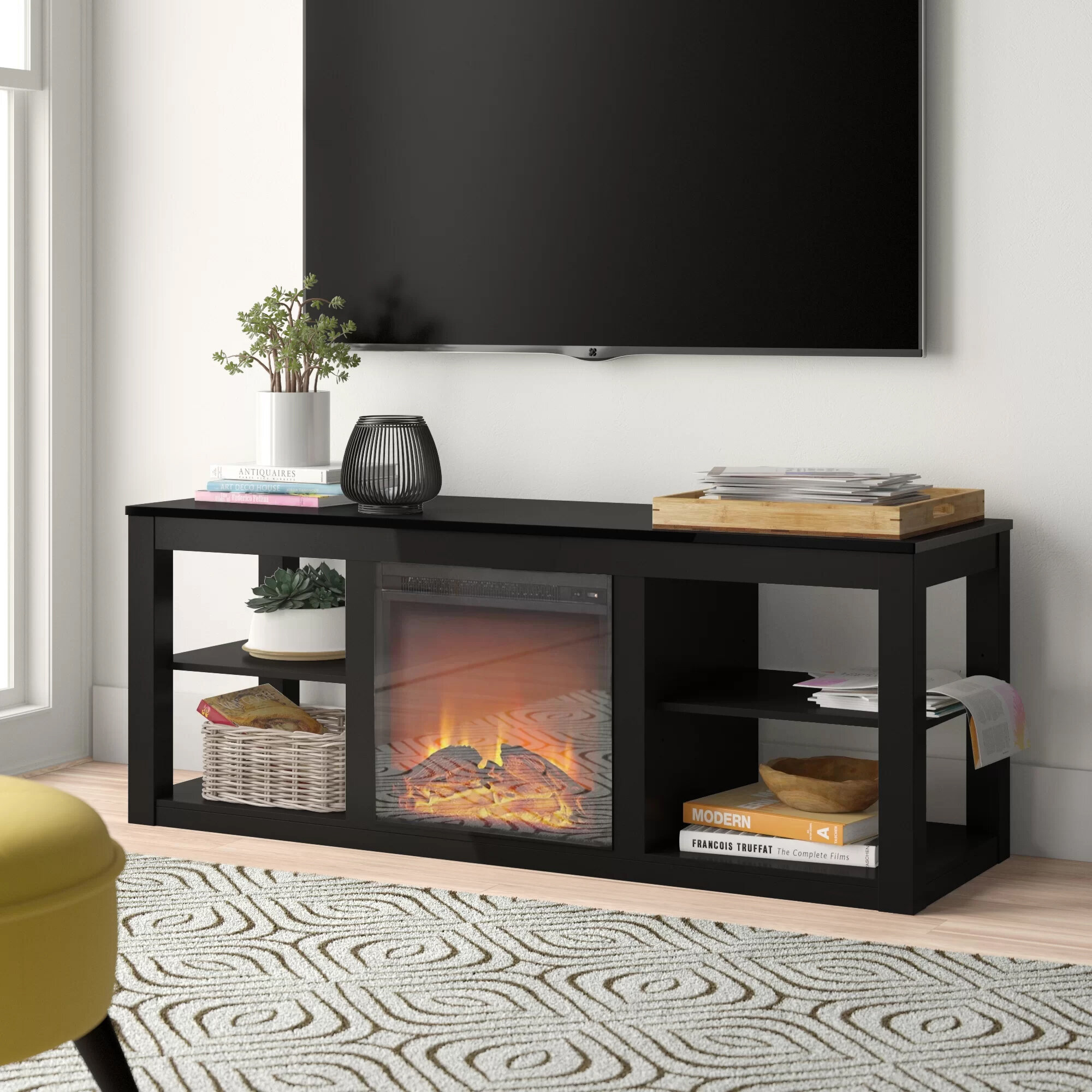 Zipcode Design Rickard Tv Stand For Tvs Up To 65 With Fireplace Included Reviews Wayfair
