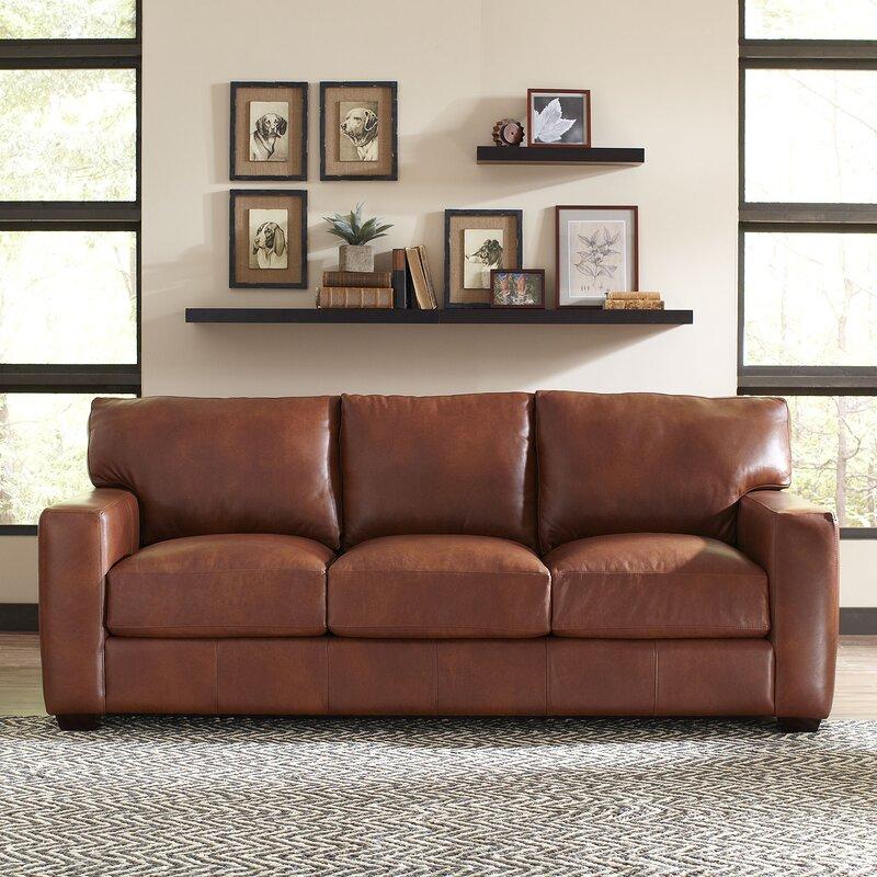 Pratt Leather Sofa Reviews Birch Lane - Blended leather sofa