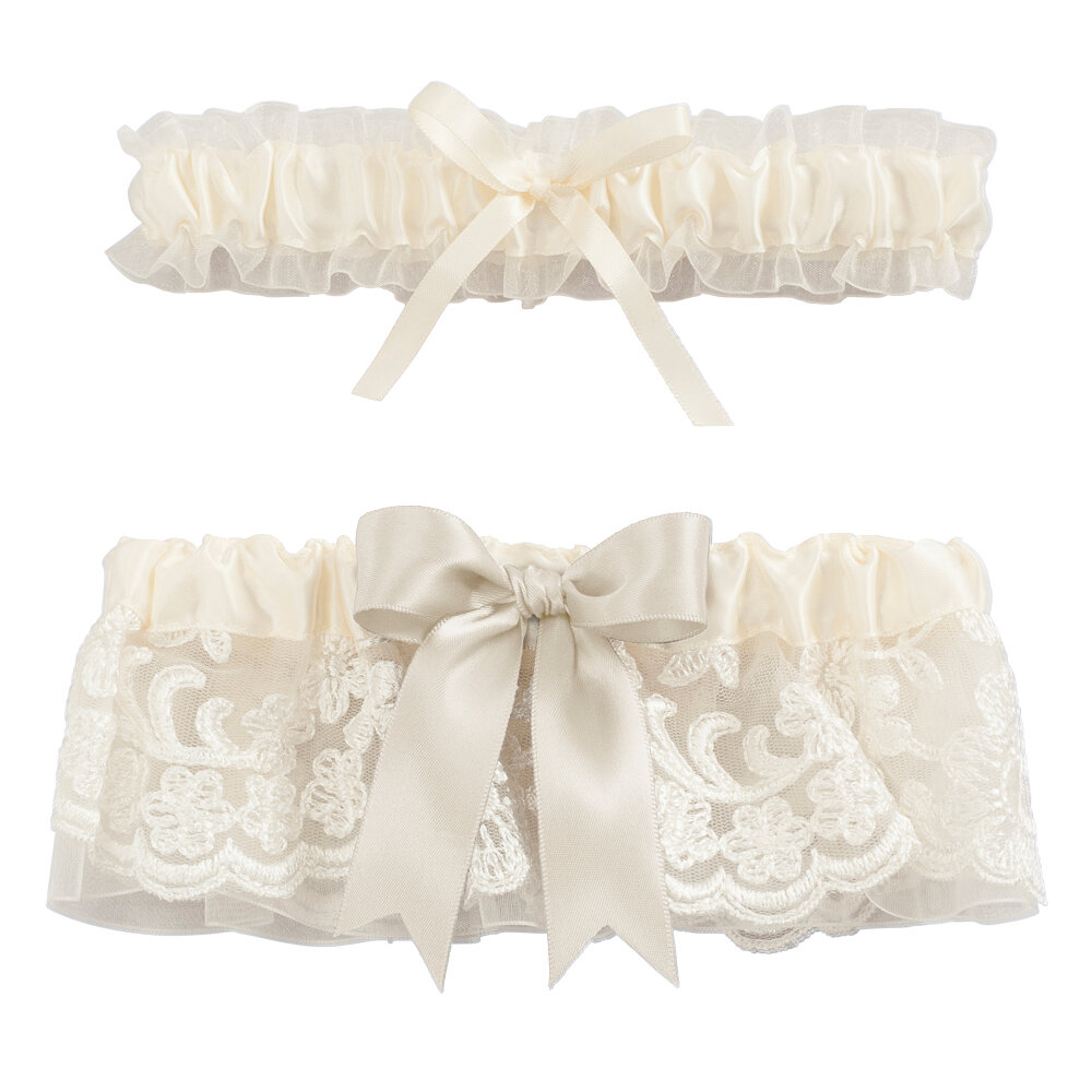 White Floral Lace Wedding Garter Bridal Garter /'Ivy/'