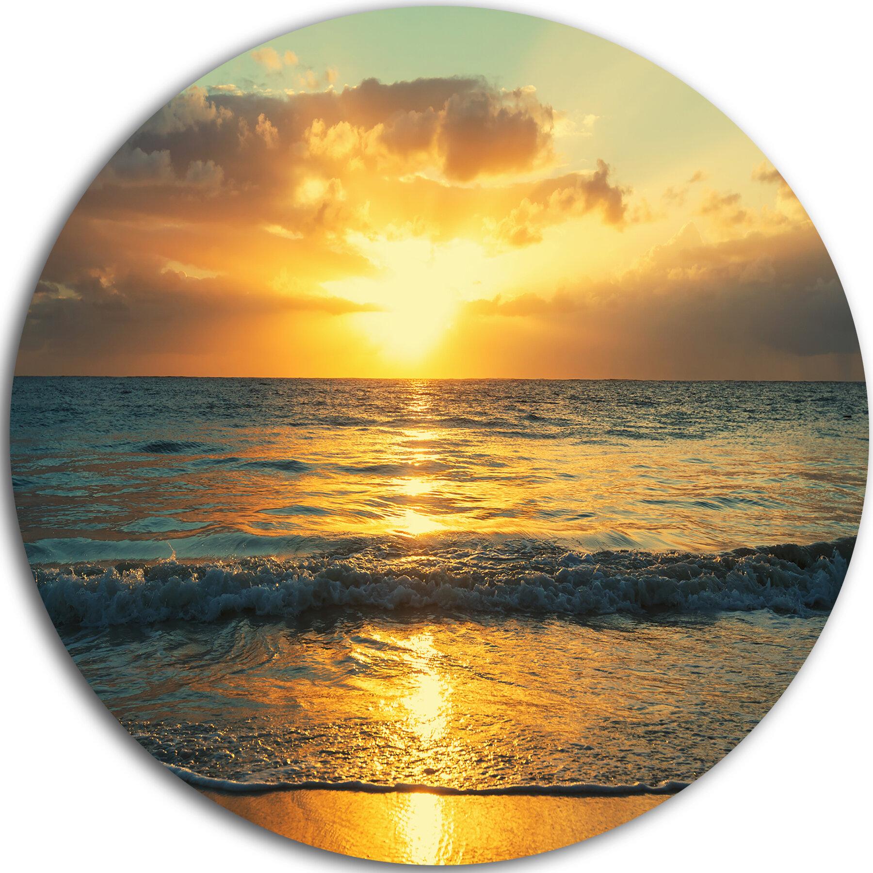 Designart Exotic Water And Sky Sunset Panorama Photographic Print On Metal Wayfair Ca