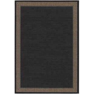 Affordable Westlund Black Wicker Stitch Indoor/Outdoor Rug By Charlton Home