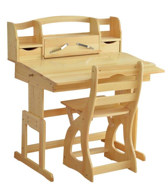 Cluff 355 W Writing Desk With Built In Bookshelf And Chair Set