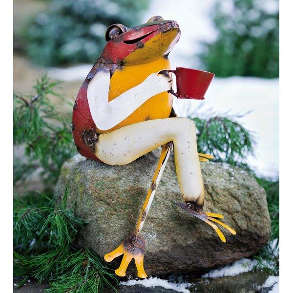 Plow U0026 Hearth Recycled Metal Coffee Frog Garden Statue U0026 Reviews | Wayfair