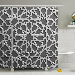Traditional House Historic Moroccan Heraldic Empire Interlace Form with Mix of Star Flowers Shower Curtain Set