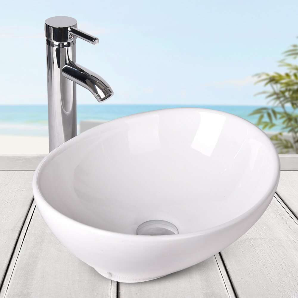 Above Counter Ceramic Oval Vessel Bathroom Sink With Faucet