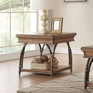 Isabella Rectangular Wooden End Table by 17 Stories