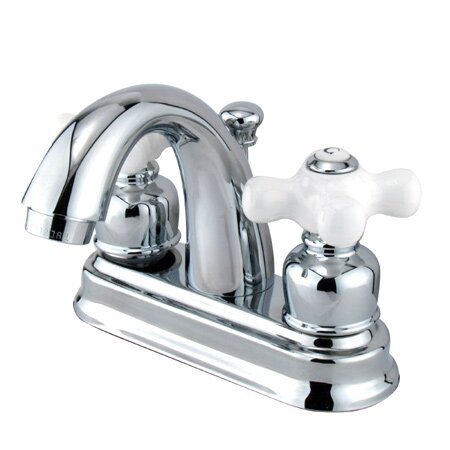 Attractive Centerset Bathroom Faucet With Double Porcelain Cross Handles