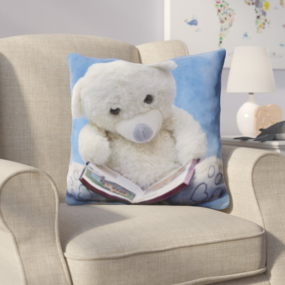 Zoomie Kids Hicks Teddy Bear Reading A Book Throw Pillow Wayfair