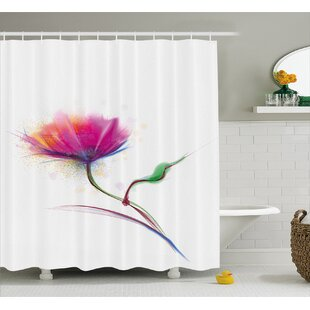Acevedo Simplistic Poppy Design Purity and Grace Symbol Splattered Image Single Shower Curtain