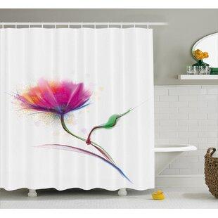 Acevedo Simplistic Poppy Design Purity and Grace Symbol Splattered Image Single Shower Curtain