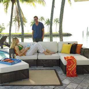 Hospitality Rattan Soho 5 Piece Sectional Seating Group with Sunbrella Cushions
