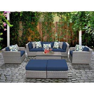 TK Classics Florence 8 Piece Rattan Sofa Set with Cushions