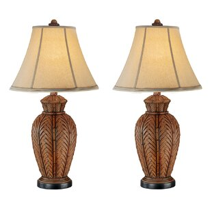 Rattan wicker table lamp wayfair andromeda wicker 24 table lamp set of 2 aloadofball Images