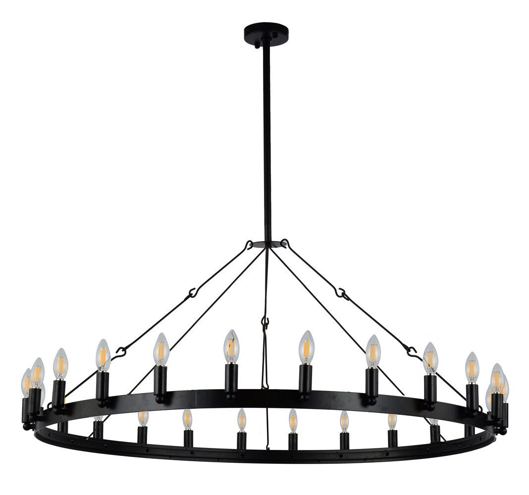 17 Stories Wickstrom 24 Light Candle Style Wagon Wheel Chandelier Reviews Wayfair