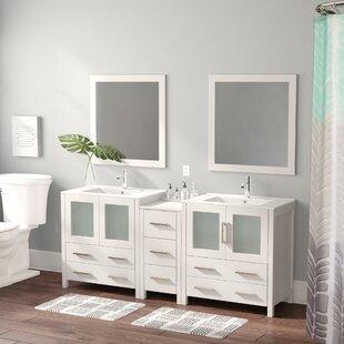 Karson 72 Double Bathroom Vanity Set with Mirror by Wade Logan