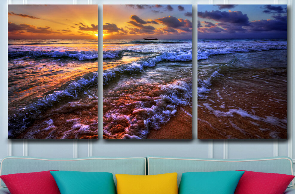 Bay Isle Home Breaking Dawn Photographic Print Multi Piece Image On Wrapped Canvas Wayfair