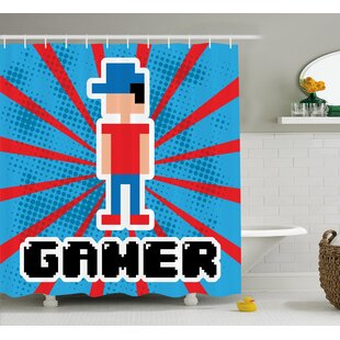 Best Reviews Video Games Red Blue Stripes Shower Curtain ByEast Urban Home